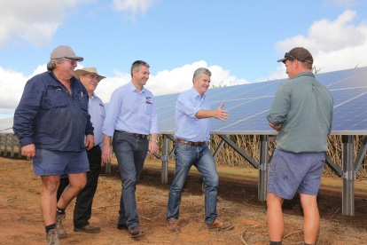 Allan Dingle of CANEGROWERS, Dale Holliss of BRIG, Travis Tobin CEO of Queensland Farmers Federation and Steve Whan CEO of NIC with project site owner Josh Killer, of Killer Farms