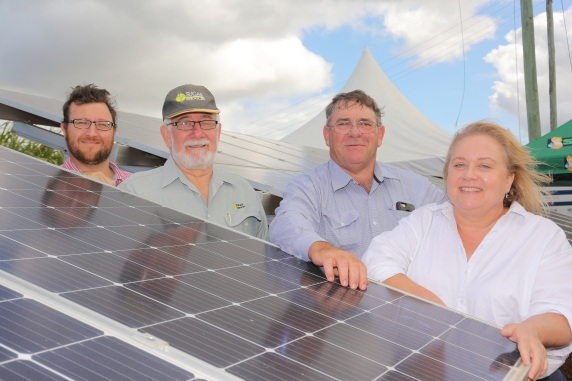 Tim Couchman of ARENA, Maurice Haines and Dale Hollis of the Adapting Renewable Energy Project, and Catherine Cussen, General Manager Department of Natural Resources, Mines and Energy
